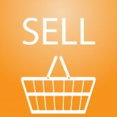 image of slogan  - sell slogan and shopping basket symbol eps10 - JPG