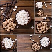 picture of sugar cube  - Collage from photos of white and brown sugar cubes in bowsl and vanilla beans on dark wooden background - JPG