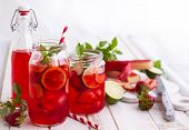 picture of mints  - Preparation homemade refreshing  strawberry - JPG
