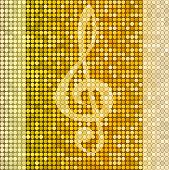 picture of treble clef  - Shiny delicate golden background with treble clef vector - JPG