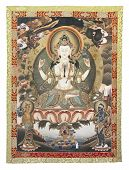 Tibetan Thangka With Chenrezig