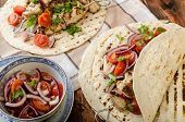 picture of souvlaki  - Turkey kebab with parsley salsa kebab grilled delicious salsa - JPG