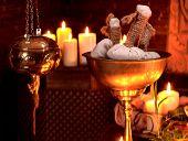 image of panchakarma  - Luxury ayurvedic spa massage still life with burning candles - JPG