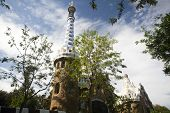 stock photo of gingerbread house  - The roof of a gingerbread house in the Park Guell - JPG