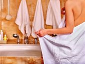 pic of bubble-bath  - Woman relaxing at water in bubble bath - JPG