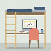 picture of bunk-bed  - Flat Design Empty Bunk Bed With Workspace Vector Illustration - JPG
