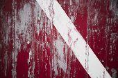 picture of martha  - Weathered red door with white stripe in Memensha Massachusetts on Martha - JPG