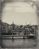 stock photo of martha  - Beautiful fishing village of Menemsha on Martha - JPG