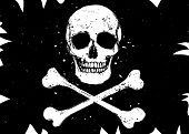 picture of pirate flag  - Vector pirate black flag with white skull and crossbones grunge style illustration - JPG