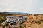 image of junk-yard  - Scrap Yard With Pile Of Crushed Cars in tenerife canary islands spain - JPG