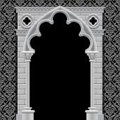stock photo of art gothic  - Stone gothic arch and wall in black and white colors on classic vintage background - JPG