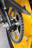 pic of lube  - Enduro motorbike wheel and chain - JPG