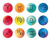 stock photo of cancer horoscope icon  - Vector set of icons with all astrological zodiac signs on blurred backgrounds - JPG