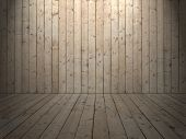 image of wainscoting  - Room with wooden planked wall and flooring of rough sewed boards and light from cealing - JPG