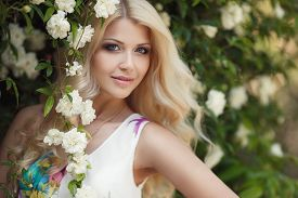 image of wind-rose  - Gorgeous blond with long curly hair and blue eyes - JPG