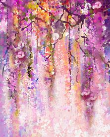 image of violet flower  - Abstract flowers watercolor painting - JPG
