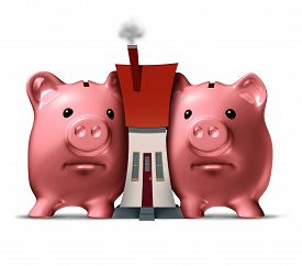 image of social housing  - Housing crunch and home crisis concept as two piggy banks putting the squeeze on a family house as an economic symbol of feeling financial pressure and finance stress from realestate mortgage prices and renovation expenses - JPG