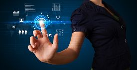foto of social system  - Business woman touching future web technology buttons and icons  - JPG