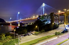 image of hong kong bridge  - Ting Kau bridge at night - JPG