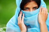 woman portrait in blue fabric