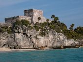 picture of conquistadors  - view of the ruins of tulum from the sea similar to what the conquistadores saw in 1517 - JPG