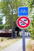 stock photo of debenture  - Bikes road sign - JPG