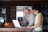 image of 55-60 years old  - Portrait of a senior couple with a laptop computer - JPG