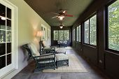 picture of screen-porch  - Porch in luxury home with dark wood paneling - JPG