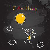 Positive affirmations for kids, motivational, inspirational concept vector illustration. I am happy  poster