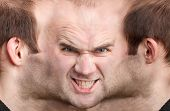 Panoramic Face Of Malicious Man