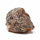 picture of mica  - Chunk of Mica or Quartz rock from low perspective isolated on white - JPG