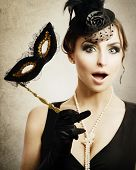 stock photo of fancy-dress  - Surprised Retro Woman - JPG
