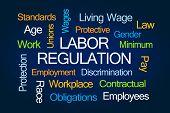 Labor Regulation Word Cloud on Blue Background poster