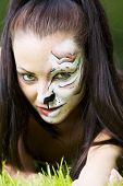 foto of tigress  - Girl with tigress make up close up portrait - JPG