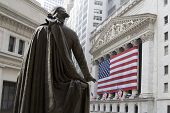 pic of nyse  - UA Flag in front of New York Stock Exchange - JPG