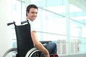 stock photo of wheelchair  - Man in wheelchair - JPG