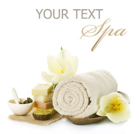 picture of spa massage  - Spa setting over white - JPG