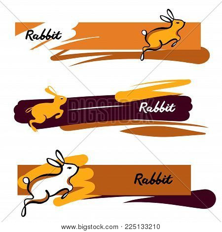 Text Rabbit Freehand Drawn Element Design For Banner Poster Card