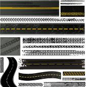 Tire tracks and roads collection