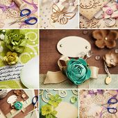 collage de materiales de manualidades Scrapbooking
