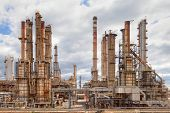 oil refinery petrochemical  chemical industry fuel distillation of petrol petrochemy industrial pipelines and chimney. Power plant. Oil industry