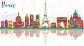 Paris France City Skyline with Color Buildings and Reflections. Business Travel and Tourism Concept  poster
