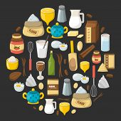 Vector Cartoon Baking Ingredients Background poster