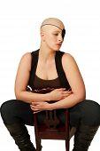 Sad looking bald woman