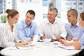 stock photo of business meetings  - Colleagues in business meeting - JPG