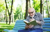 Laughing Senior Man Reading Book Outdoors. Elderly Casual Man In Eyeglasses Having Rest On The Bench poster