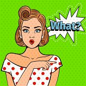 Pop Art Surprised Lady. Young Beautiful Girl With What Sign, Pretty Comic Art Shocked Woman Vector I poster