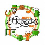 Vector Set Of St. Patricks Day Icon Situated On Circle With Handwritten Text In The Middle. Holiday  poster