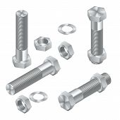 Set Of Isometric Steel Screws, Bolts, Nuts And Rivets. Isolated Vector Elements. poster