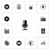 Set Of 13 Editable Audio Icons. Includes Symbols Such As Start Audio, Journalism Equipment, Note And poster